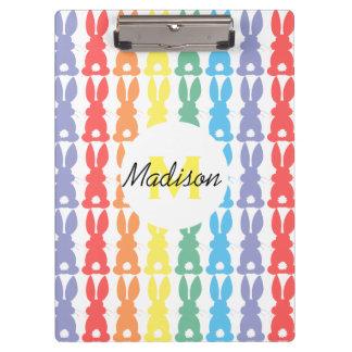 Kids Personalized Rainbow Bunny Silhouette Cute Clipboard