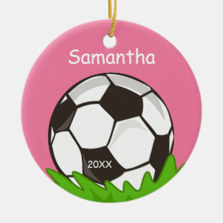 Kids Personalized Soccer Ball Pink Christmas Tree Ornament