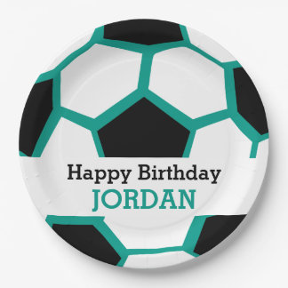 Kids Personalized Soccer Happy Birthday Sports 9 Inch Paper Plate