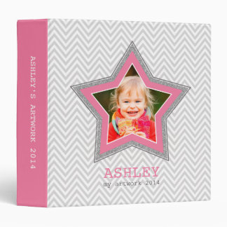KIDS PHOTO gray chevron pattern star frame pink 3 Ring Binder