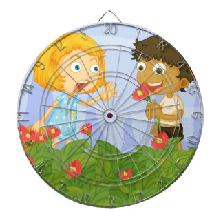 Kids picking up flowers in the garden dartboards