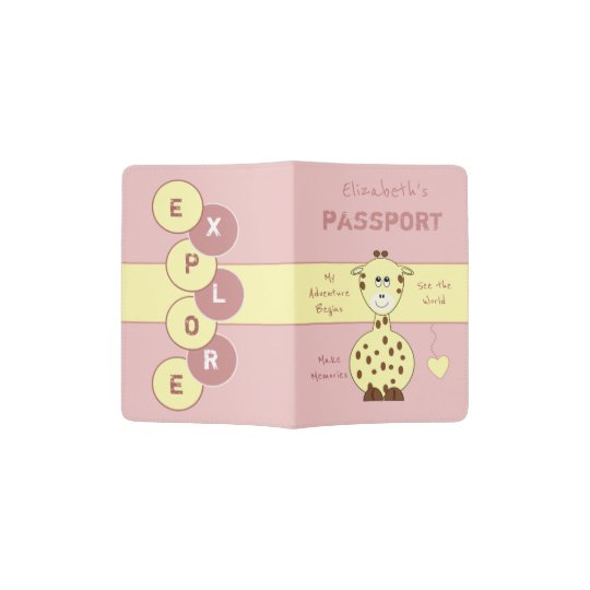 Kids pink and yellow giraffe passport holder