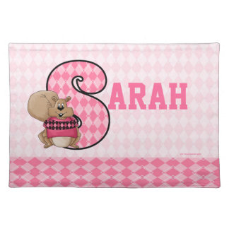 "Kid's Pink Argyle Monogram ""S"" Name Placemat"