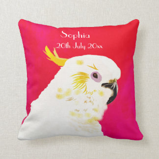 Kids Pink Bright  Baby Date Cockatoo Throw Pillow