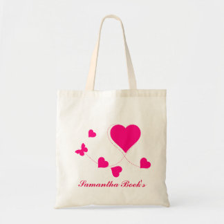 Kids Pink Butterfly Hearts Library Bag