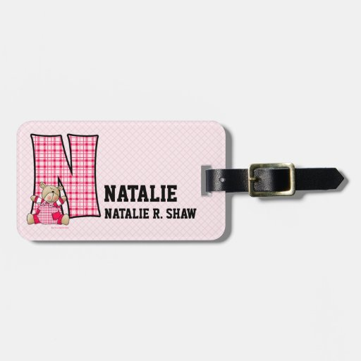 """Kid's Pink Gingham Monogram """"N"""" Luggage Tags"""