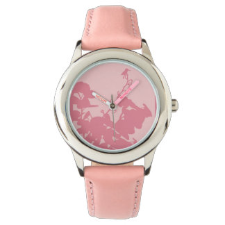 Kid's Pink Leather Strap Watch PINK HUMMINGBIRD
