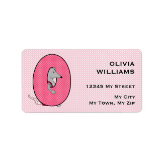 "Kid's Pink Opossum Monogram ""O"" Address Labels"