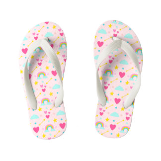 Kids Pink Rainbow Patterned Flip Flops