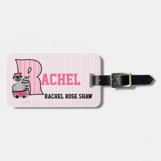 "Kid's Pink Striped Monogram ""R"" Luggage Tags"