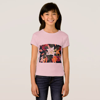 Kids pink tshirt with Japan floral art