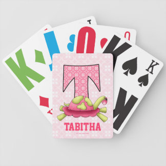 "Kid's Pink Turtle Monogram ""T"" Playing Cards"