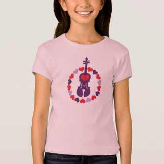 Kids Pink Violin T-Shirt with Hearts