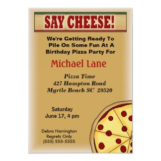 Kids Pizza  Birthday Invitation