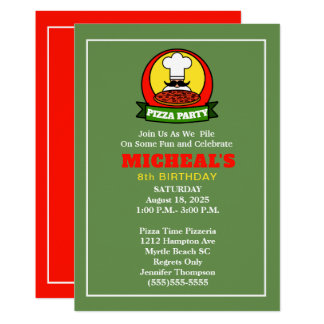 Kids Pizza Party Birthday Invitation