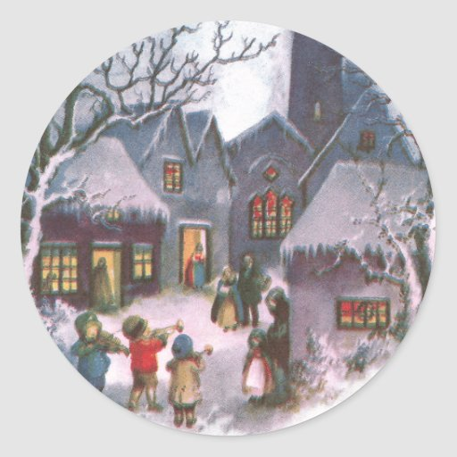 Kids Play Music for Lit Up Town Vintage New Year Sticker