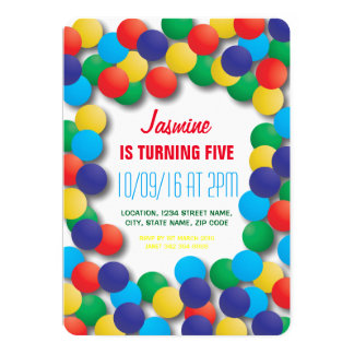 Kids Playhouse Coloured Balls Pit Birthday Card