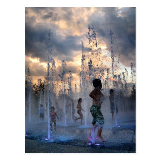 Kids Playing in Fountain at Sunset Austin Texas 2 Postcard