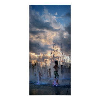 Kids Playing in Fountain at Sunset Austin Texas 2 Poster