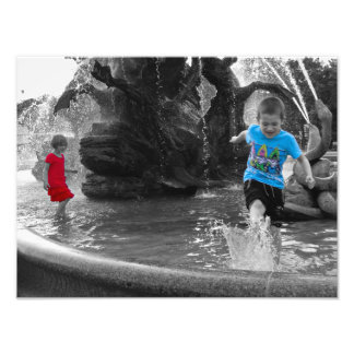 Kids playing in the fountain | color splash poster photographic print