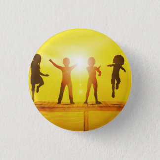 Kids Playing in the Summertime on a Pier 1 Inch Round Button