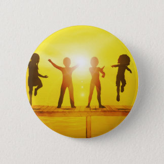 Kids Playing in the Summertime on a Pier 2 Inch Round Button