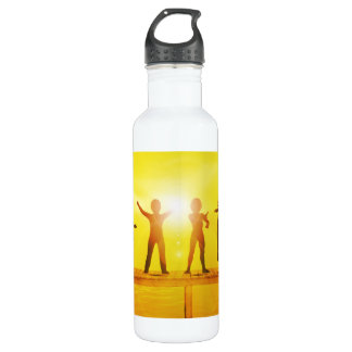 Kids Playing in the Summertime on a Pier 710 Ml Water Bottle