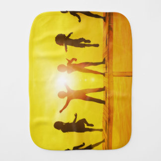Kids Playing in the Summertime on a Pier Burp Cloth
