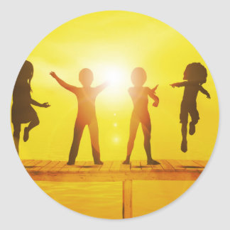 Kids Playing in the Summertime on a Pier Classic Round Sticker