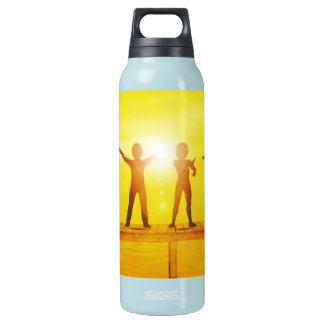 Kids Playing in the Summertime on a Pier Insulated Water Bottle