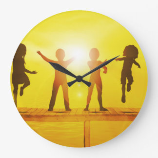 Kids Playing in the Summertime on a Pier Large Clock