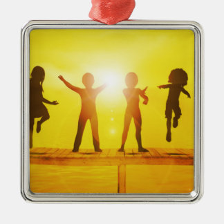 Kids Playing in the Summertime on a Pier Metal Ornament