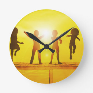 Kids Playing in the Summertime on a Pier Round Clock