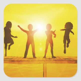 Kids Playing in the Summertime on a Pier Square Sticker
