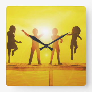Kids Playing in the Summertime on a Pier Square Wall Clock