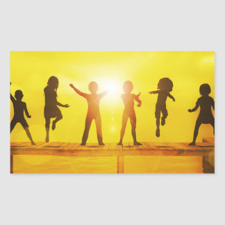 Kids Playing in the Summertime on a Pier Sticker