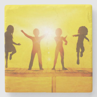 Kids Playing in the Summertime on a Pier Stone Coaster