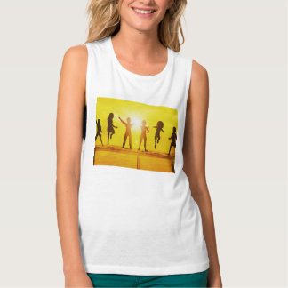 Kids Playing in the Summertime on a Pier Tank Top