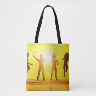 Kids Playing in the Summertime on a Pier Tote Bag