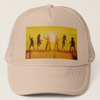Kids Playing in the Summertime on a Pier Trucker Hat