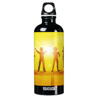 Kids Playing in the Summertime on a Pier Water Bottle