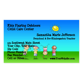 Kids Playing Outdoors Child Care Business Cards