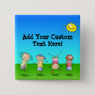 Kids Playing Outdoors on a Sunny Day 2 Inch Square Button