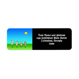 Kids Playing Outdoors on a Sunny Day Return Address Label