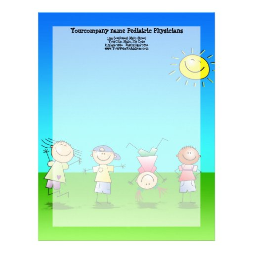 Kids Playing Outdoors on a Sunny Day Letterhead Template