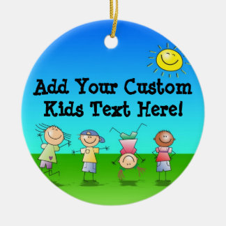 Kids Playing Outdoors on a Sunny Day Ornament