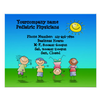 Kids Playing Outdoors on a Sunny Day Sign Poster
