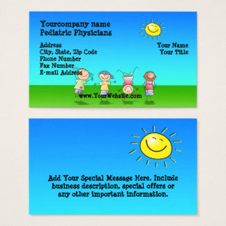 Kids Playing Outdoors, Sunny Day Business Cards