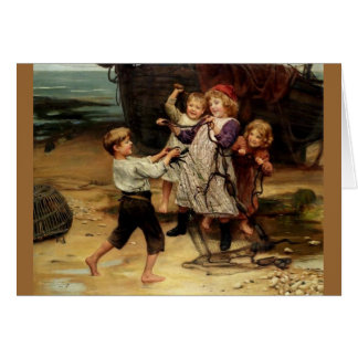 Kids Playing with fishing net beach painting Greeting Card