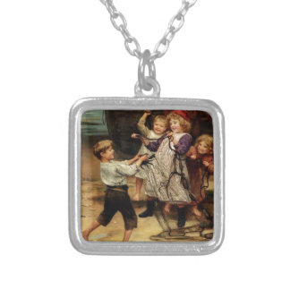 Kids Playing with fishing net beach painting Pendant